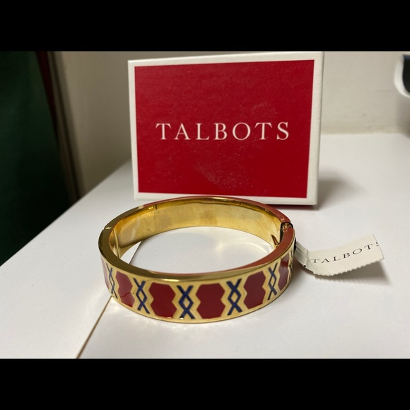 NWT Talbots red & blue enamel bangle bracelet.